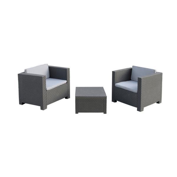 Loungemöbel-Set Basic; 74x72x66cm (BxHxT); Sitz grau, Gestell grau ...
