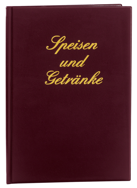 Bild: klassische Speisekarte, rot mit goldener Schrift