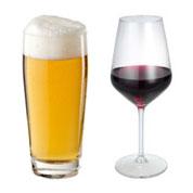 Glas Bier Wein
